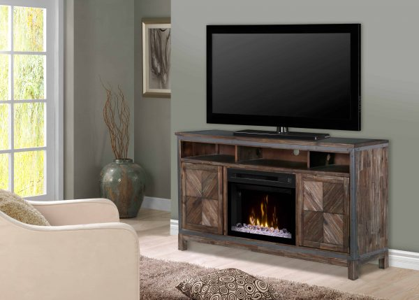 "Dimplex Wyatt Media Console Electric Fireplace With Acrylic Ember Bed for TVs up to 50"", Barley Brown 2"