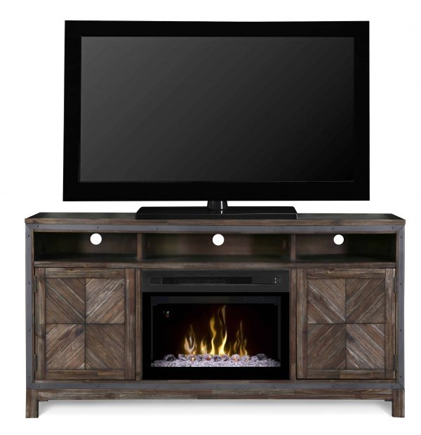 "Dimplex Wyatt Media Console Electric Fireplace With Acrylic Ember Bed for TVs up to 50"", Barley Brown 3"