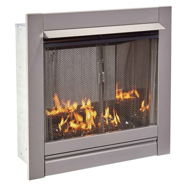 Duluth Forge Vent-Free Stainless Outdoor Gas Fireplace Insert With Black Fire Glass Media - 24,000 BTU - Model# DF450SS-G-RBLK 1