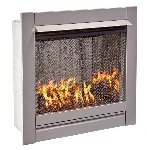 Duluth Forge Vent-Free Stainless Outdoor Gas Fireplace Insert With Copper Fire Glass Media - 24,000 BTU - Model# DF450SS-G-RCO 1
