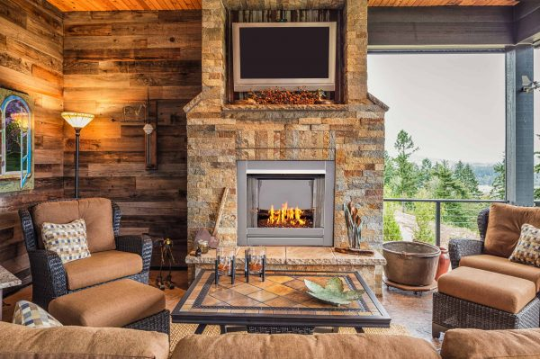 Duluth Forge Vent-Free Stainless Outdoor Gas Fireplace Insert With Copper Fire Glass Media - 24,000 BTU - Model# DF450SS-G-RCO 3