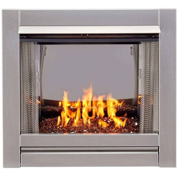 Duluth Forge Vent-Free Stainless Outdoor Gas Fireplace Insert With Copper Fire Glass Media - 24