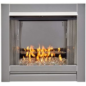 Duluth Forge Vent Free Stainless Outdoor Gas Fireplace Insert With Crystal Fire Glass Media - 24