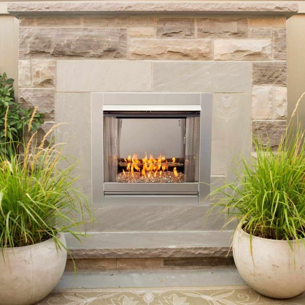 Duluth Forge Vent Free Stainless Outdoor Gas Fireplace Insert With Crystal Fire Glass Media - 24,000 BTU - Model# DF450SS-G 3