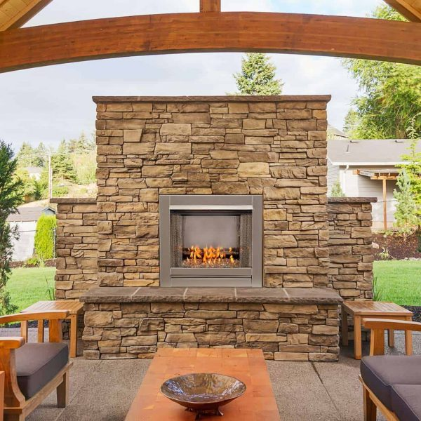 Duluth Forge Vent Free Stainless Outdoor Gas Fireplace Insert With Crystal Fire Glass Media - 24,000 BTU - Model# DF450SS-G 4