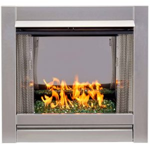 Duluth Forge Vent-Free Stainless Outdoor Gas Fireplace Insert With Emerald Green Fire Glass Media - 24