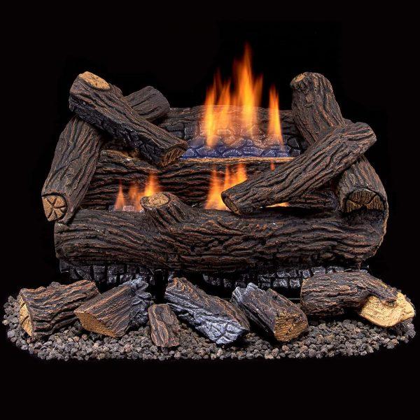 Duluth Forge Ventless Natural Gas Log Set - 18 in. Split Red Oak - Manual Control