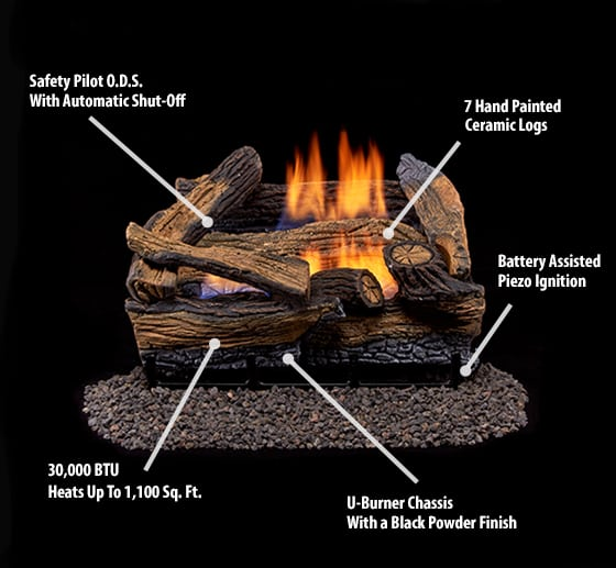 Duluth Forge Ventless Natural Gas Log Set - 18 in. Stacked Red Oak - Manual Control 1