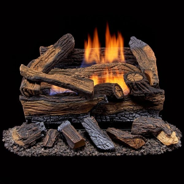 Duluth Forge Ventless Propane Gas Log Set - 18 in. Split Red Oak - Manual Control 1
