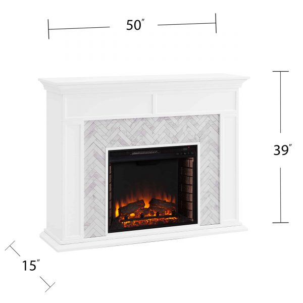 Dunlin Marble Tiled Electric Fireplace by Ember Interiors 1