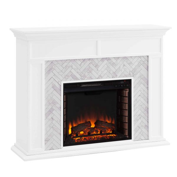 Dunlin Marble Tiled Electric Fireplace by Ember Interiors 12