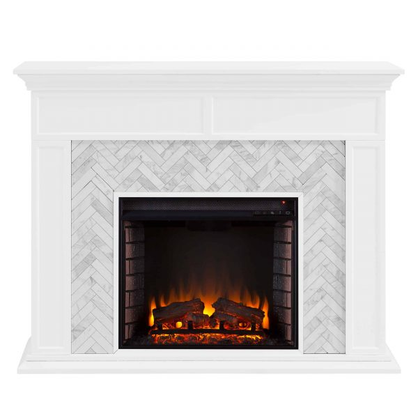 Dunlin Marble Tiled Electric Fireplace by Ember Interiors 3