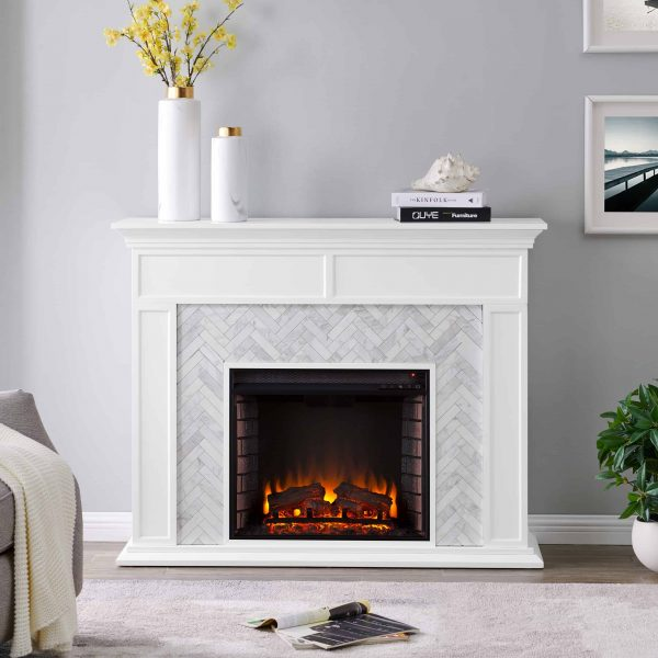 Dunlin Marble Tiled Electric Fireplace by Ember Interiors