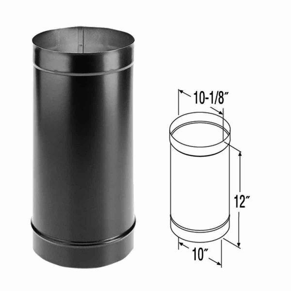 """DuraVent 10DBK-12 Black 10"""" Inner Diameter 1"""