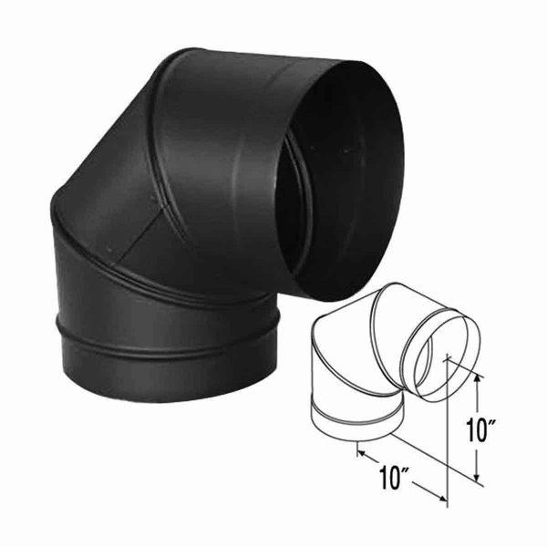 """DuraVent 10DBK-E90 Black 10"""" Inner Diameter 1"""