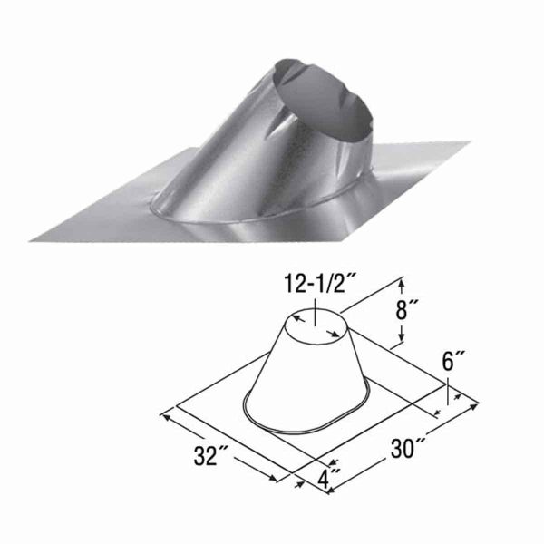 """DuraVent 10DT-F6 Stainless Steel 10"""" Class A Chimney Pipe Adjustable Roof Flashing For 1"""