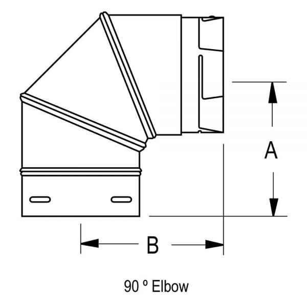 """DuraVent 3PVP-E90 Stainless Steel 3"""" Inner Diameter 2"""