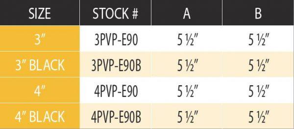 """DuraVent 3PVP-E90 Stainless Steel 3"""" Inner Diameter 4"""