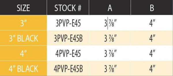 """DuraVent 4PVP-E45 Stainless Steel 4"""" Inner Diameter 2"""