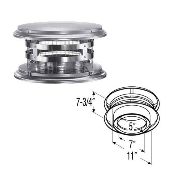 """DuraVent 5DT-VC Stainless Steel 5"""" Inner Diameter 1"""