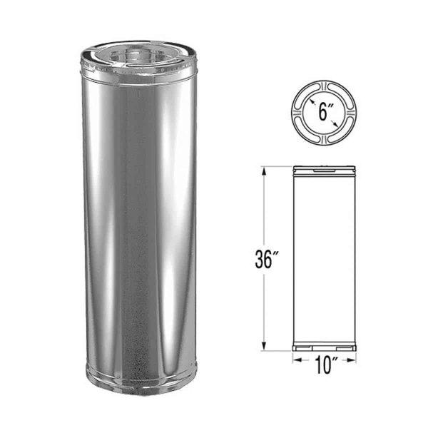 """DuraVent 6DP-36SS Stainless Steel 6"""" Inner Diameter 1"""