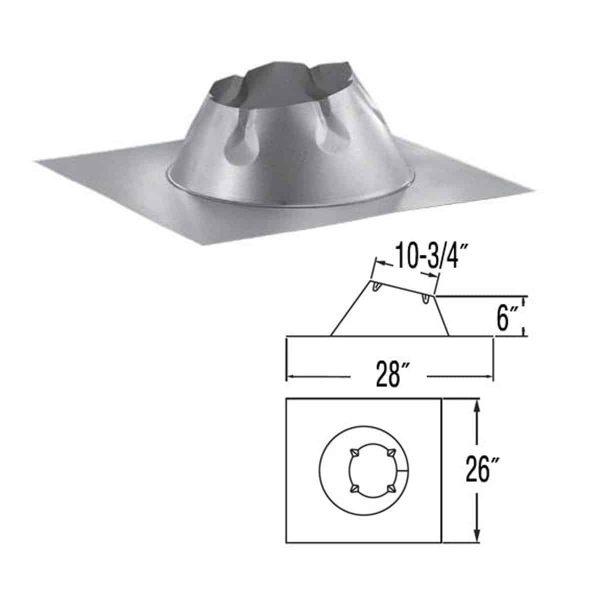"DuraVent 6DP-F6DSA Galvanized 6"" Adjustable Dead Soft Aluminum Flashing For A 0/12-6/12 1"