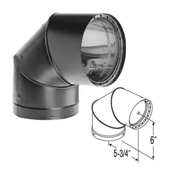 "DuraVent 6DVL-E90 Black 6"" Inner Diameter 1"