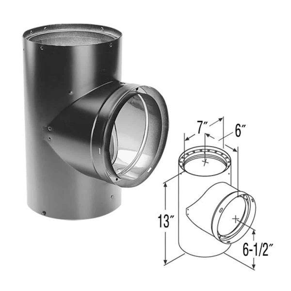 """DuraVent 6DVL-T Black 6"""" Inner Diameter 1"""