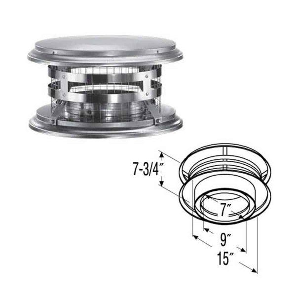 """DuraVent 7DT-VC Stainless Steel 7"""" Inner Diameter 1"""