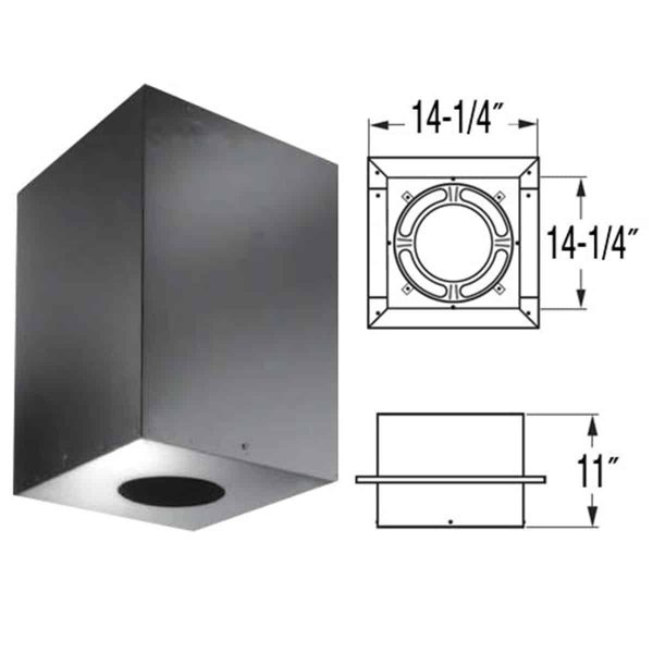 "DuraVent 8DP-CS11 8"" Inner Diameter - DuraPlus Class A Chimney Pipe - Triple Wall - 18.25"" Square Ceiling Support Box 1"