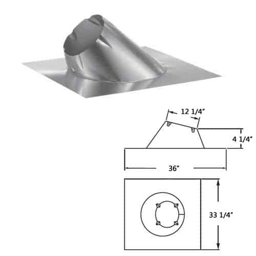 """DuraVent 8DP-F12 8"""" Class A Chimney Pipe Roof Flashing for 7/12-12/12 Pitch 1"""