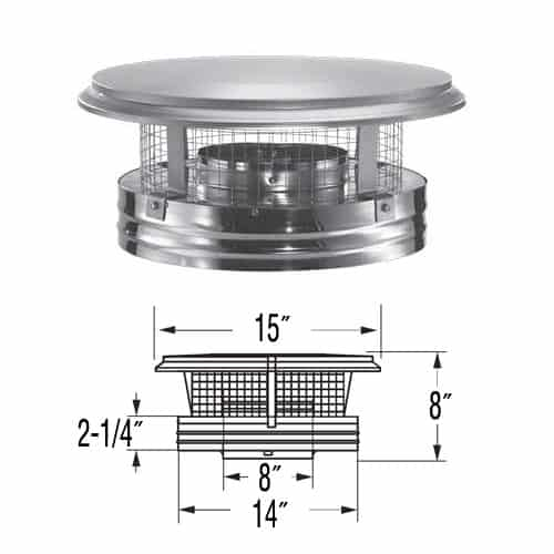 """DuraVent 8DP-VC 8"""" Inner Diameter - DuraPlus Class A Chimney Pipe - Triple Wall - Chimney Cap with Spark Arrestor 1"""