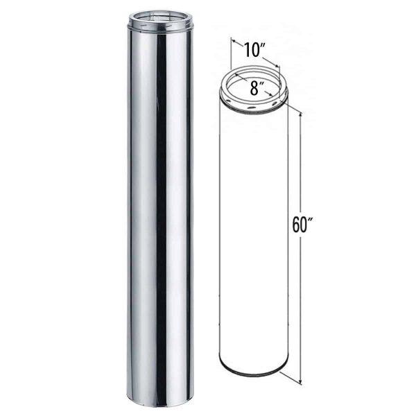 """DuraVent 8DT-60SSCF Stainless Steel 8"""" Inner Diameter 1"""