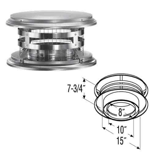 """DuraVent 8DT-VC Stainless Steel 8"""" Inner Diameter 1"""