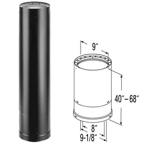 """DuraVent 8DVL-68TA Black 8"""" Inner Diameter 1"""