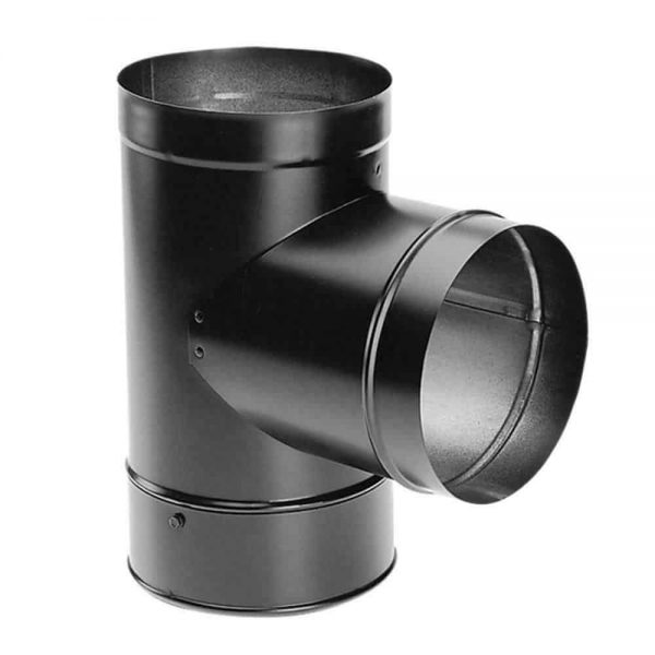 DuraVent Chimney Stove Pipe Tee Clean Out Cap Vent Venting DuraBlack 6 Inch Part