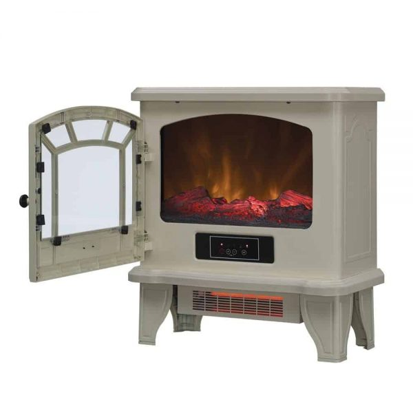 Duraflame Electric Fireplace Stove 1500 Watt Infrared Heater with Flickering Flame Effects - Cream 1
