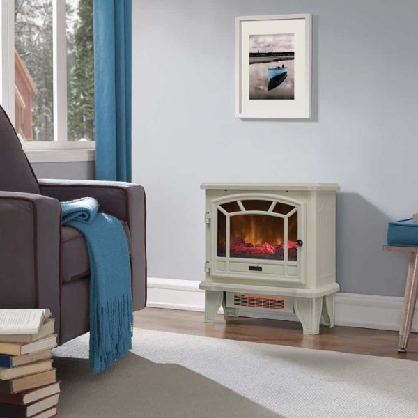 Duraflame Electric Fireplace Stove 1500 Watt Infrared Heater with Flickering Flame Effects - Cream 2