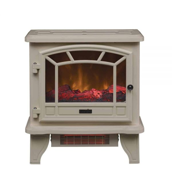 Duraflame Electric Fireplace Stove 1500 Watt Infrared Heater with Flickering Flame Effects - Cream 3