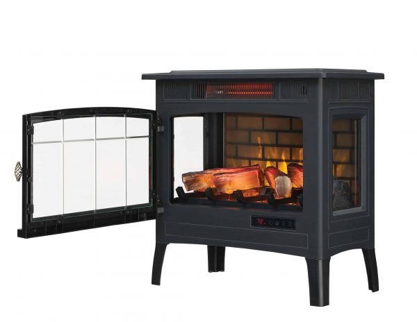 Duraflame Infrared Quartz Fireplace Stove with 3D Flame Effect, Black 3