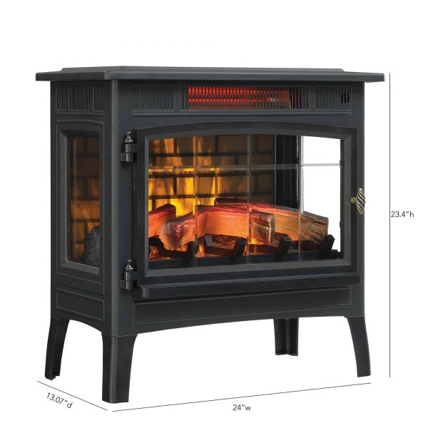 Duraflame Infrared Quartz Fireplace Stove with 3D Flame Effect, Black 4