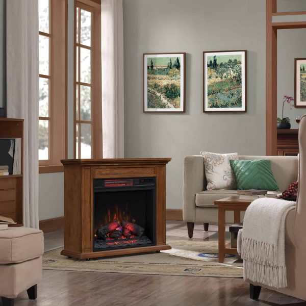 Duraflame Rolling Mantel with Infrared Quartz Fireplace, Premium Oak 1