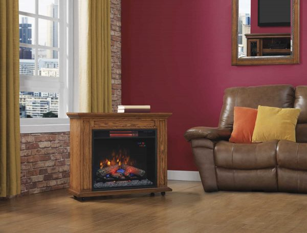 Duraflame Rolling Mantel with Infrared Quartz Fireplace, Premium Oak 2