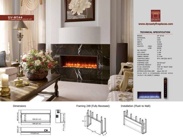 Dynasty 44 in. Built-in LED Electric Fireplace 5