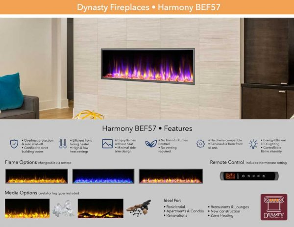 Dynasty 57 in. LED Wall Mounted Electric Fireplace 5