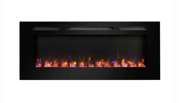 Dynasty 60 in Built-in LED Electric Fireplace Tempered Glass Frame 1