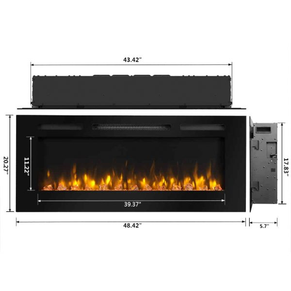 Dynasty 60 in Built-in LED Electric Fireplace Tempered Glass Frame 4