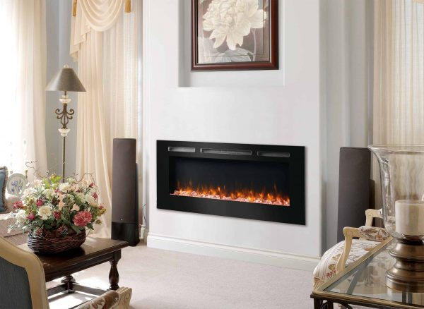 Dynasty 60 in Built-in LED Electric Fireplace Tempered Glass Frame