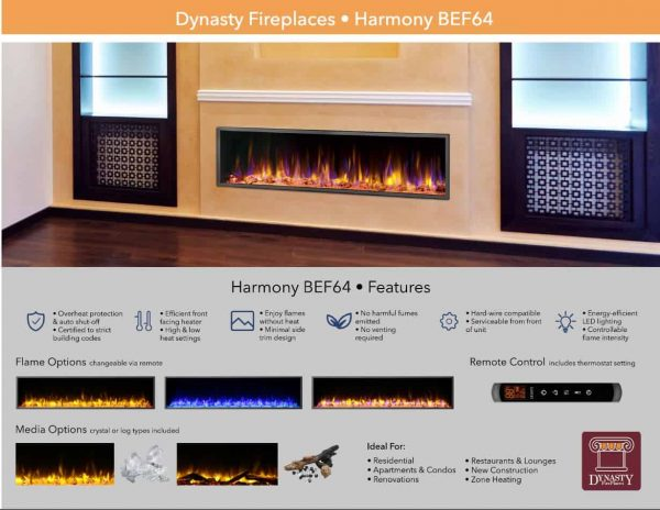 Dynasty 64 in. LED Wall Mounted Electric Fireplace 5