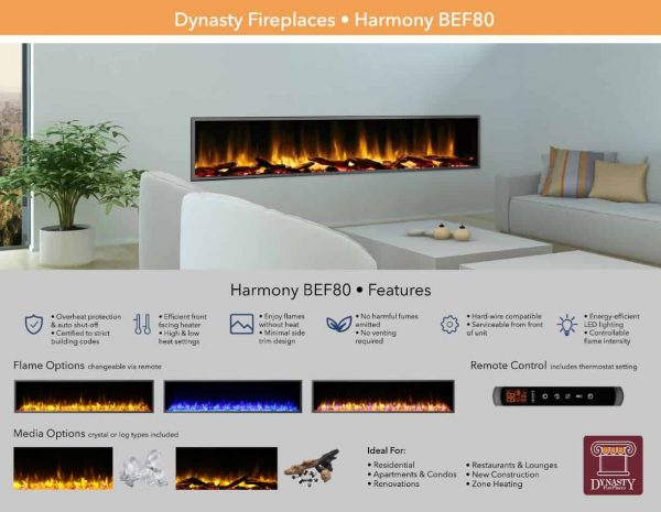 Dynasty 80 in. LED Wall Mounted Electric Fireplace 5